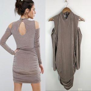 ASOS Club L Ribbed Velvet Mini Dress